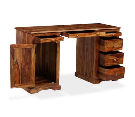 vidaXL Rašomasis stalas, masyvi rausv. dalb. mediena, 140x50x76 cm[2/13]