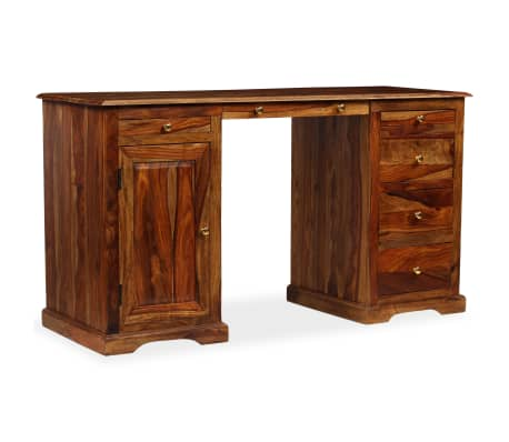 vidaXL Rašomasis stalas, masyvi rausv. dalb. mediena, 140x50x76 cm[11/13]