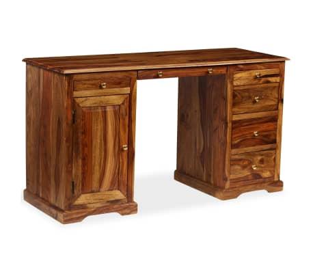 vidaXL Rašomasis stalas, masyvi rausv. dalb. mediena, 140x50x76 cm[12/13]