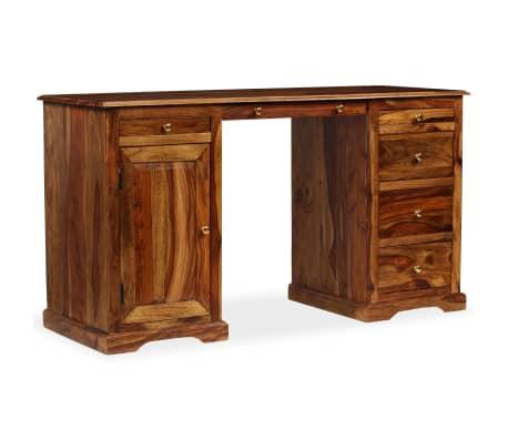 vidaXL Rašomasis stalas, masyvi rausv. dalb. mediena, 140x50x76 cm[10/13]