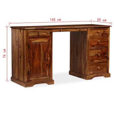 vidaXL Rašomasis stalas, masyvi rausv. dalb. mediena, 140x50x76 cm[13/13]