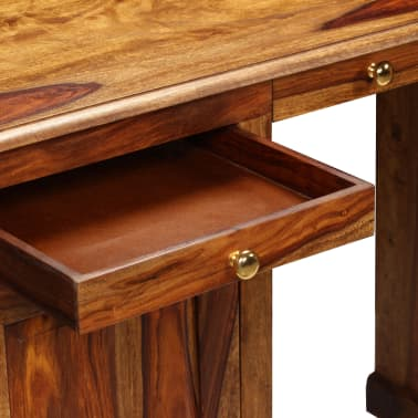 vidaXL Rašomasis stalas, masyvi rausv. dalb. mediena, 140x50x76 cm[6/13]