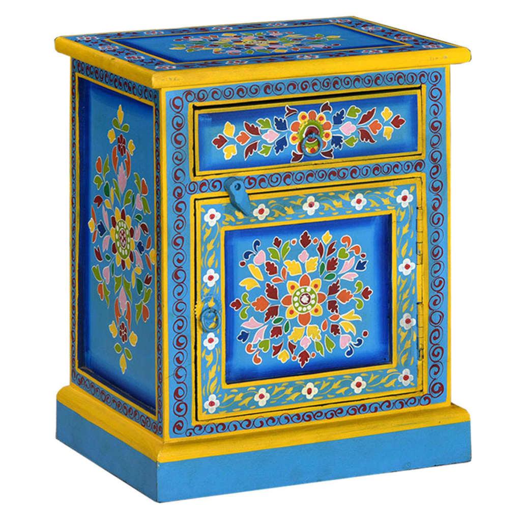 vidaXL Noční stolek z masivního mangovníku ručně malovaný tyrkysový
