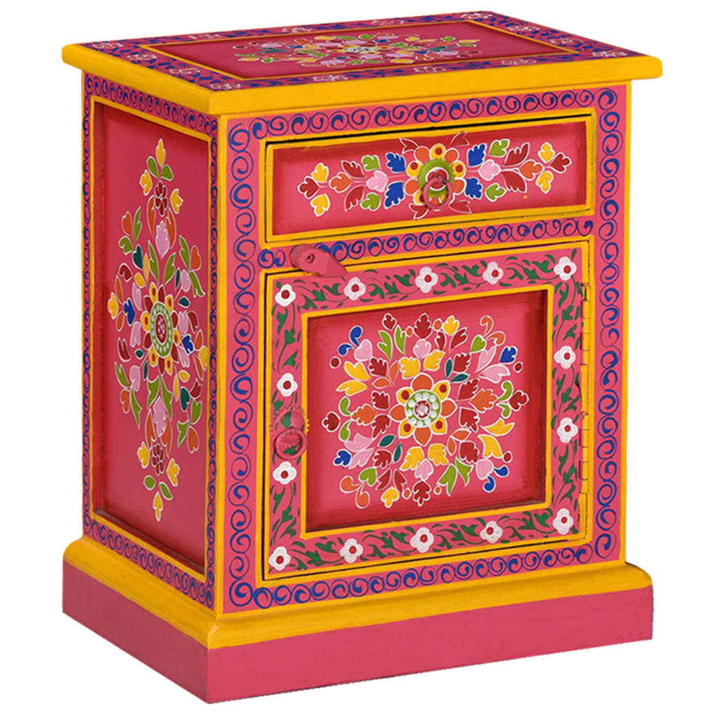 vidaXL Κομοδίνο με Χειροποίητες Λεπτομέρειες Ροζ από Μασίφ Ξύλο Μάνγκο
