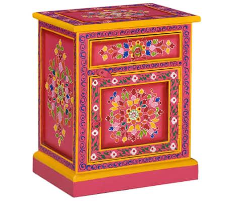 vidaXL Spintelė prie lovos, mango medienos masyvas, rožinė sp., rankomis dažyta