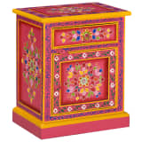 vidaXL Nachtkastje handgeschilderd massief mangohout roze