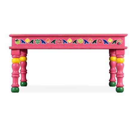 vidaXL Kavos staliukas, mango mediena, rožinis, tapytas rankomis[4/9]