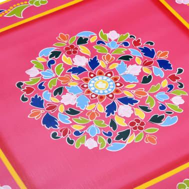 vidaXL Kavos staliukas, mango mediena, rožinis, tapytas rankomis[5/9]