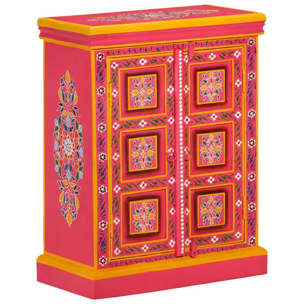 vidaXL Ψηλός Μπουφές με Χειροποίητες Λεπτομέρειες Ροζ από Ξύλο Μάνγκο