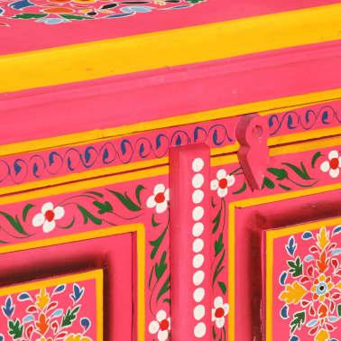 vidaXL Buffet Bois massif de manguier Peinture rose à la main[8/10]