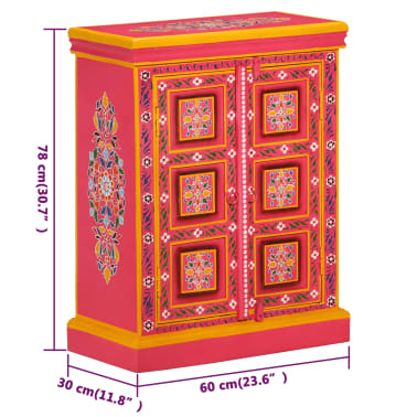 vidaXL Buffet Bois massif de manguier Peinture rose à la main[10/10]