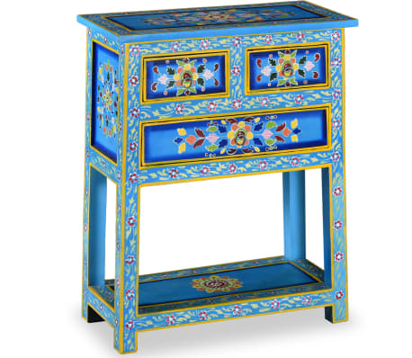vidaXL Sideboard with Drawers Solid Mango Wood Turquoise Hand Painted
