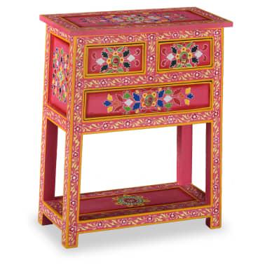 vidaXL Buffet avec tiroirs Bois massif de manguier Peinture rose[1/11]