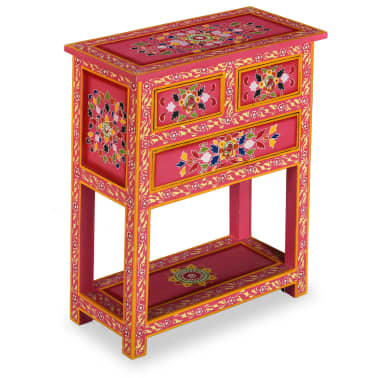 vidaXL Buffet avec tiroirs Bois massif de manguier Peinture rose[2/11]