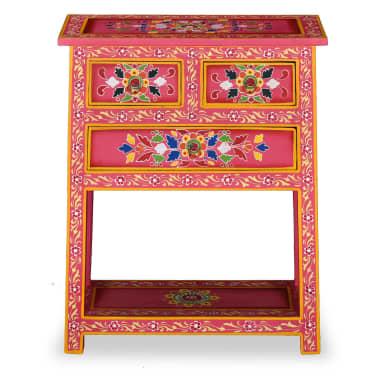 vidaXL Buffet avec tiroirs Bois massif de manguier Peinture rose[3/11]