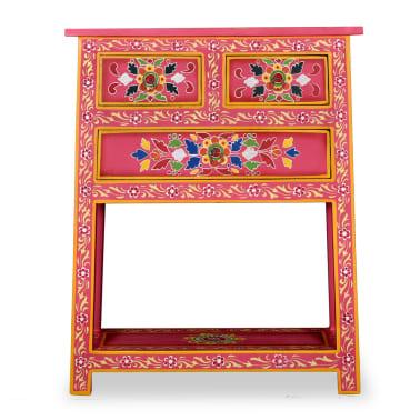 vidaXL Buffet avec tiroirs Bois massif de manguier Peinture rose[4/11]