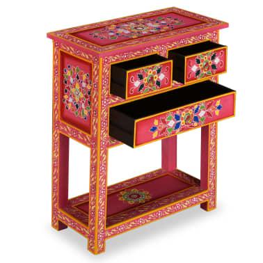 vidaXL Buffet avec tiroirs Bois massif de manguier Peinture rose[5/11]