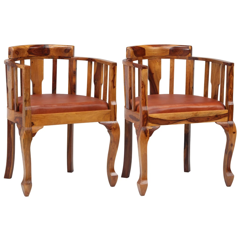 vidaXL Καρέκλες Τραπεζαρίας 2 τεμ. Γνήσιο Δέρμα / Μασίφ Ξύλο Sheesham