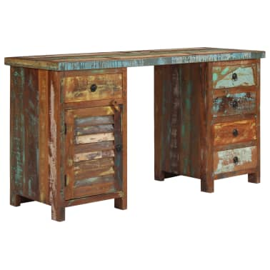 "vidaXL Pedestal Desk Solid Reclaimed Wood 55.1""x19.6""x30.3""[1/14]"