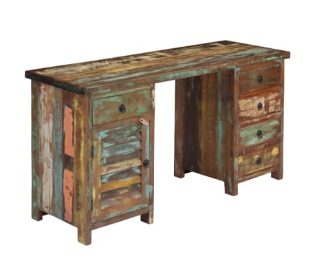 "vidaXL Pedestal Desk Solid Reclaimed Wood 55.1""x19.6""x30.3""[11/14]"