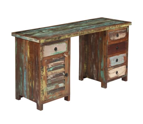 "vidaXL Pedestal Desk Solid Reclaimed Wood 55.1""x19.6""x30.3""[13/14]"