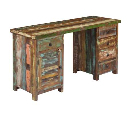 "vidaXL Pedestal Desk Solid Reclaimed Wood 55.1""x19.6""x30.3""[14/14]"