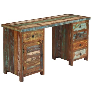 "vidaXL Pedestal Desk Solid Reclaimed Wood 55.1""x19.6""x30.3""[12/14]"