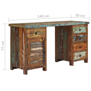 "vidaXL Pedestal Desk Solid Reclaimed Wood 55.1""x19.6""x30.3""[9/14]"