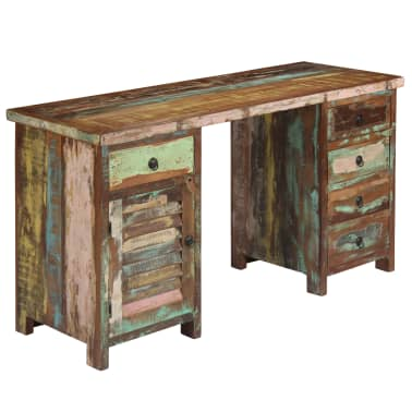 "vidaXL Pedestal Desk Solid Reclaimed Wood 55.1""x19.6""x30.3""[10/14]"
