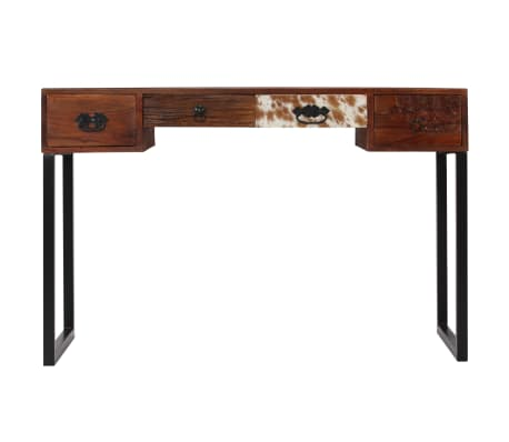"vidaXL Desk Solid Sheesham Wood and Real Leather 46""x19.6""x29.9""[4/16]"