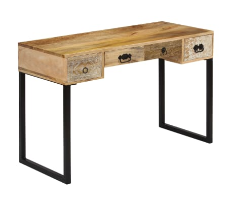 """vidaXL Desk Solid Mango Wood and Real Leather 46""""x19.6""""x29.9"""""""