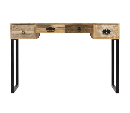 vidaXL Desk Solid Mango Wood and Real Leather 117x50x76 cm[2/16]