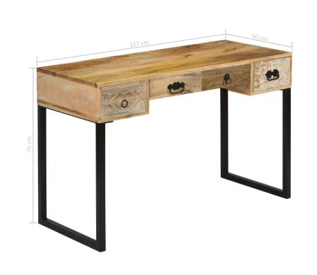 vidaXL Desk Solid Mango Wood and Real Leather 117x50x76 cm[11/16]