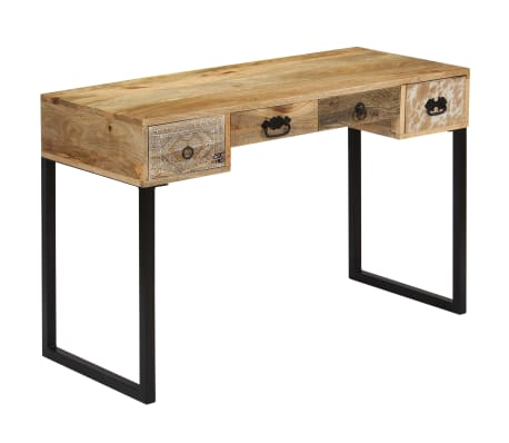 vidaXL Desk Solid Mango Wood and Real Leather 117x50x76 cm[12/16]