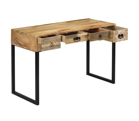 vidaXL Desk Solid Mango Wood and Real Leather 117x50x76 cm[3/16]