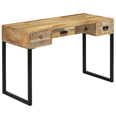 vidaXL Desk Solid Mango Wood and Real Leather 117x50x76 cm[14/16]