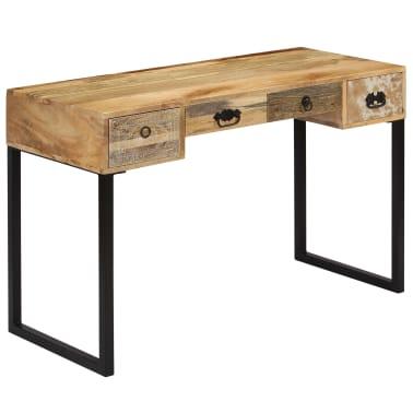 vidaXL Desk Solid Mango Wood and Real Leather 117x50x76 cm[15/16]