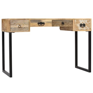 vidaXL Desk Solid Mango Wood and Real Leather 117x50x76 cm[4/16]