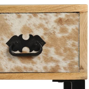 vidaXL Desk Solid Mango Wood and Real Leather 117x50x76 cm[5/16]