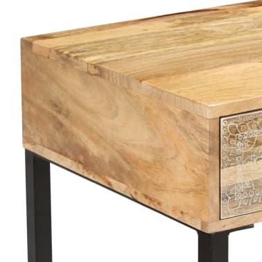 vidaXL Desk Solid Mango Wood and Real Leather 117x50x76 cm[9/16]