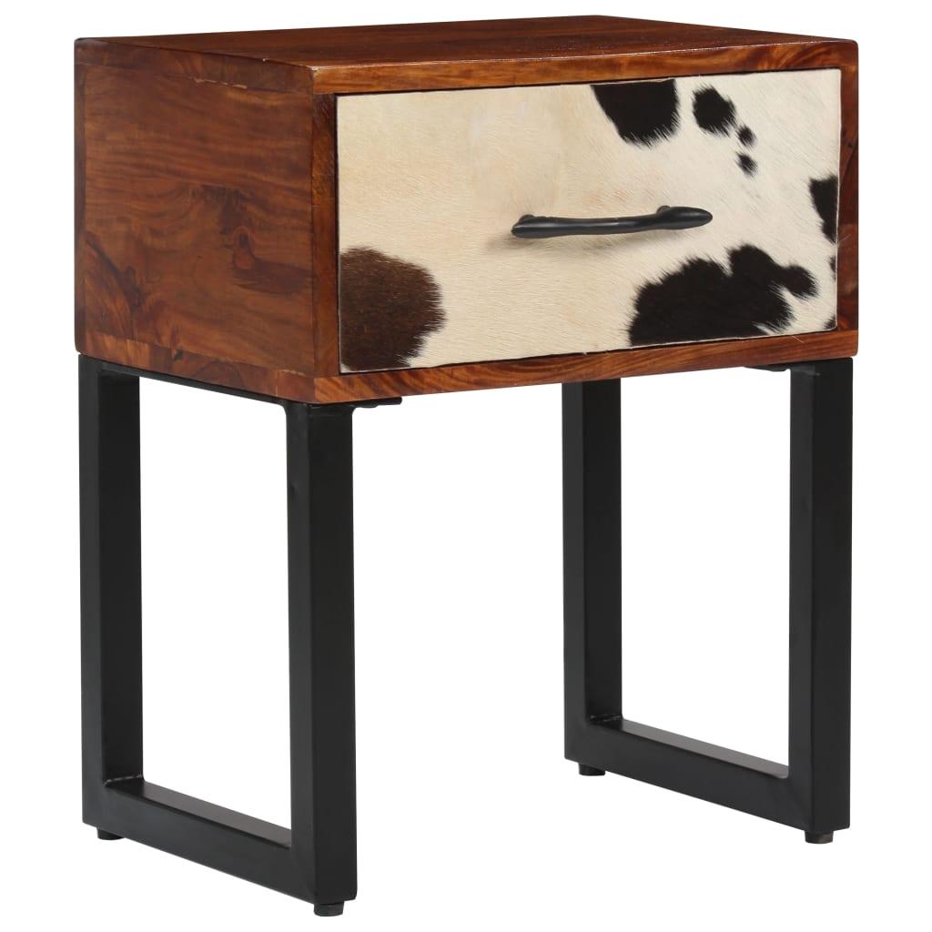 vidaXL Noční stolek z masivního sheeshamu a pravé kůže 40 x 30 x 50 cm
