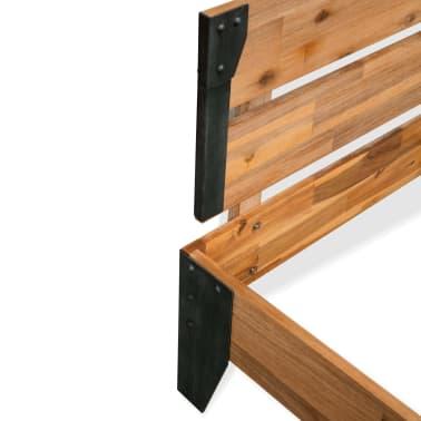 vidaXL Estructura de cama de madera maciza de acacia y acero 140x200cm[4/6]