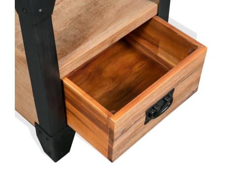 acheter vidaxl table de chevet bois d 39 acacia acier 40 x 30 x 54 cm pas cher. Black Bedroom Furniture Sets. Home Design Ideas
