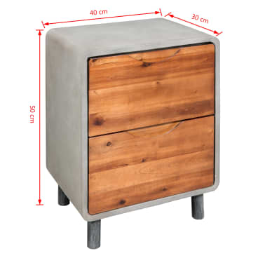 "vidaXL Nightstand Concrete Solid Acacia Wood 15.7""x11.8""x19.7""[6/6]"