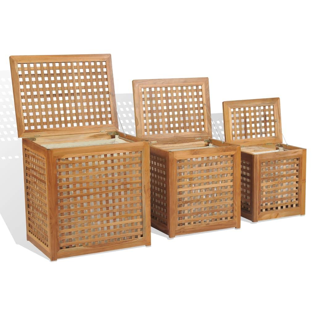 vidaXL Set de coșuri pentru rufe, 3 piese, lemn de tec imagine vidaxl.ro