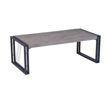 vidaXL Salongbord teak 100x50x35 cm grå
