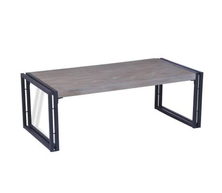 vidaXL Table basse Teck 100 x 50 x 35 cm Gris