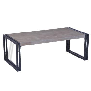 vidaXL Kavos staliukas, tikmedis, 100x50x35cm, pilkas[1/8]