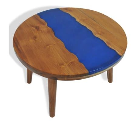 vidaXL Stolik kawowy z drewna tekowego i żywicy, okrągły, 60 x 40 cm