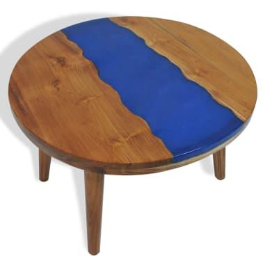 vidaXL Stolik kawowy z drewna tekowego i żywicy, okrągły, 60 x 40 cm[1/12]